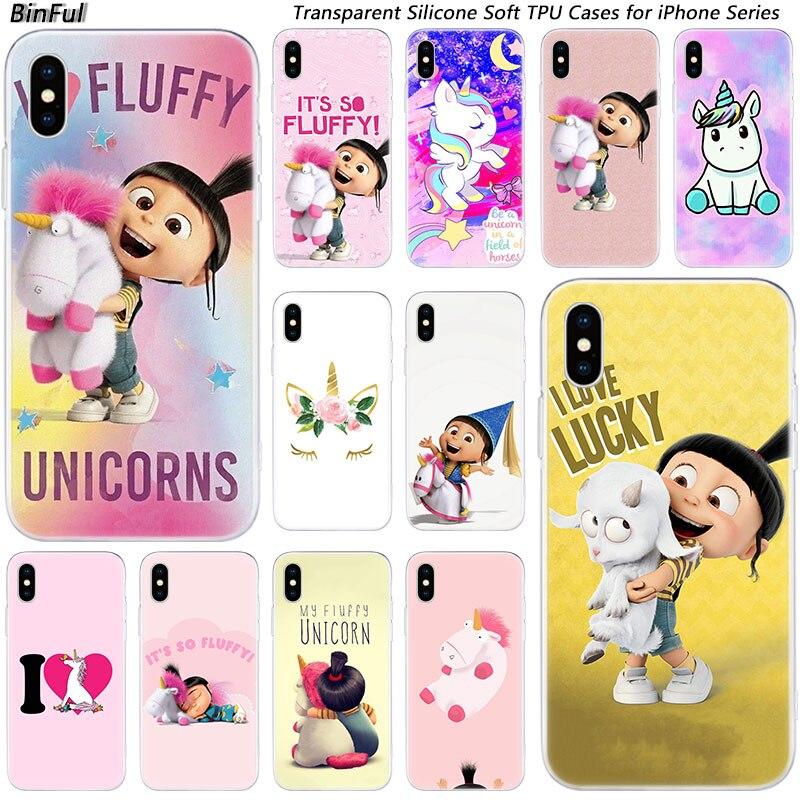 Caliente mi unicornio de Agnes de silicona de moda transparente para Apple iPhone 11 Pro XS MAX XR X 7 8 Plus 6 6s Plus 5 5C 5S cubierta