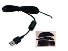 Câble de souris Usb fil de souris pour Logitech G9 G9X fil tressé ligne de peau de serpent avec 1 jeu de pieds de souris