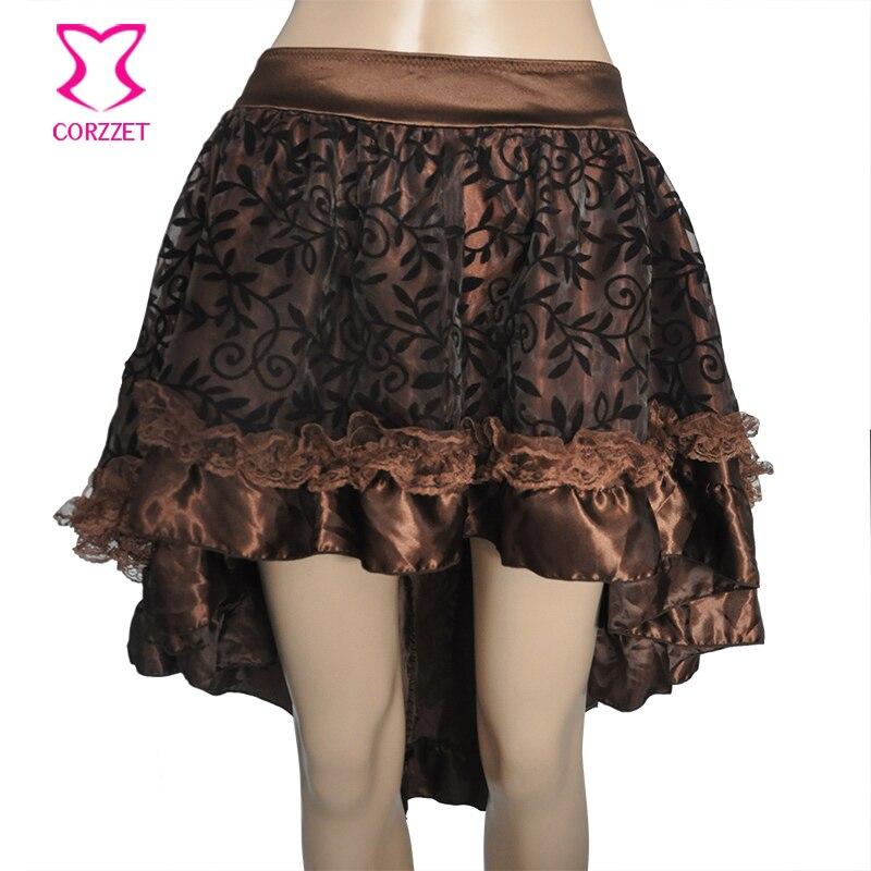 Falda Steampunk asimétrica de raso con volantes de tul flocado y marrón con Floral negro, falda de mujer a juego con corsé victoriano gótico faldas