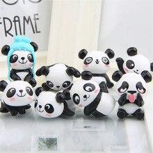 Ours Panda mignon et amusant 8 pièces/lot   Mini jouets en PVC, figurines succulentes de plante, décoration voiture pour maison bureau, fournitures pour fête, cadeau gratuit