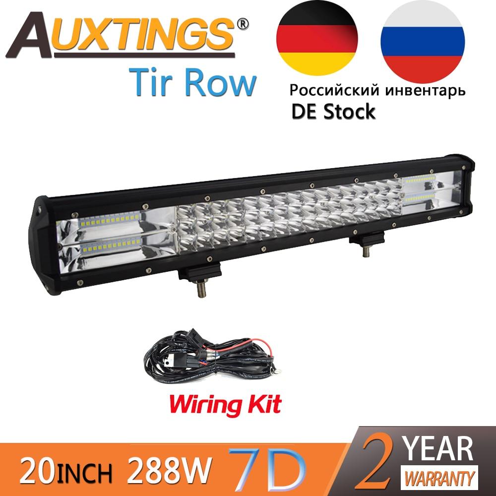 Auxtings 20 дюймов 288 Вт 20 дюймов трехрядный Подвижный кронштейн IP67 водонепроницаемый высокой мощности люменов 7D светодиодный светильник бар вн...
