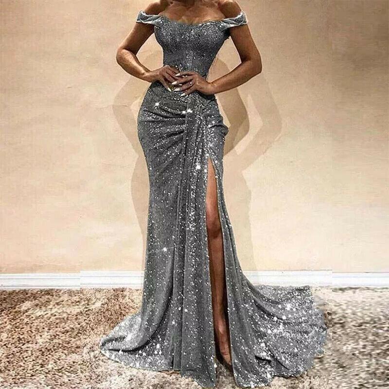 Vestido de fiesta de noche elegante de mujer largo Sexy hasta el suelo vestido de baile de graduación Sexy suelto único brillante fuera del hombro largo vestido