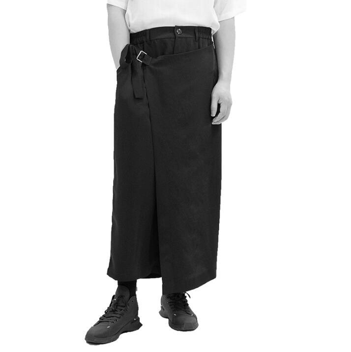 Pantalones casuales de estilo japonés a la moda para hombre, faldas casuales holgadas de pierna ancha para hombre