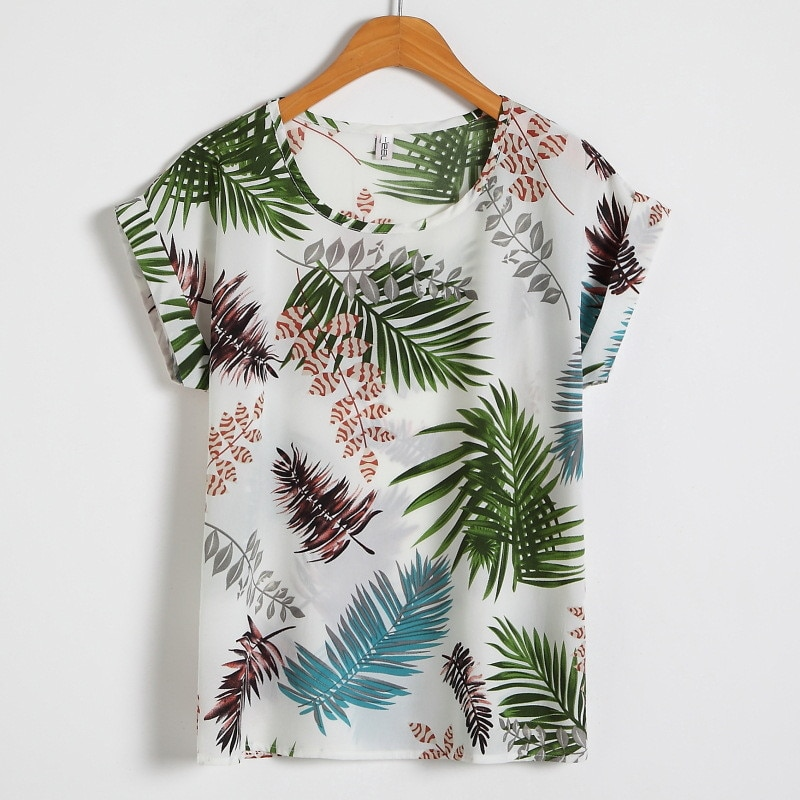 Plus Size Casual Chiffon Tshirt Fashion Print O-Neck Short Batwing Sleeve Summer T Shirt Women All-Match Streetwear T-Shirt Tops