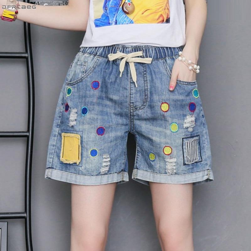 Patchwork Stickerei Plus Größe Frauen Shorts Jeans 2019 Mode Hohe Taille Retro Sommer Shorts Denim Femme Saia Jeans 3XL 4XL