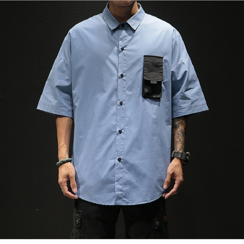 Street Mens Shirt Short Sleeve Summer Loose Large Size