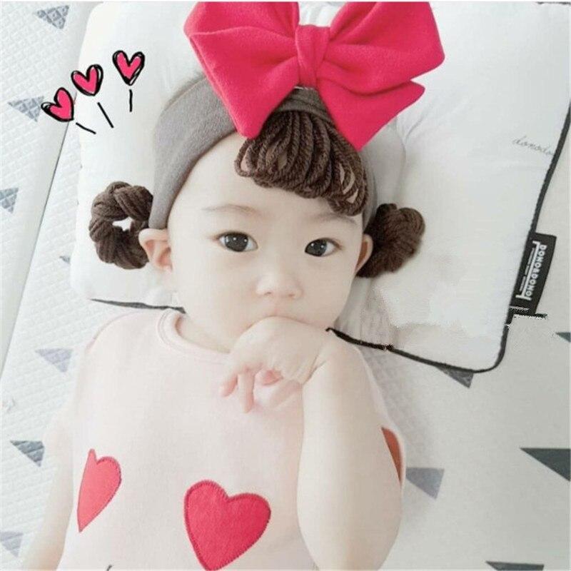 Новая Детская резинка для волос для девочек, парик, волосы, локоны с фальш-хвостом, Детская большая детская повязка на голову с бантиком, аксессуары, повязка на голову
