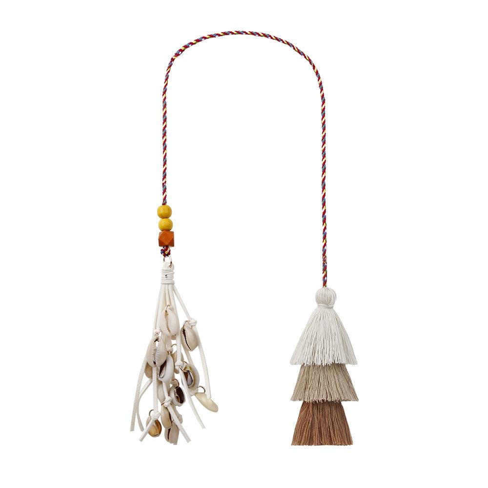 Fashion Handmade Tassel Keychain Shell Tassel Pendant Pompom Key Chains Bohemian Accessories for Women Bags Colorful Trinket