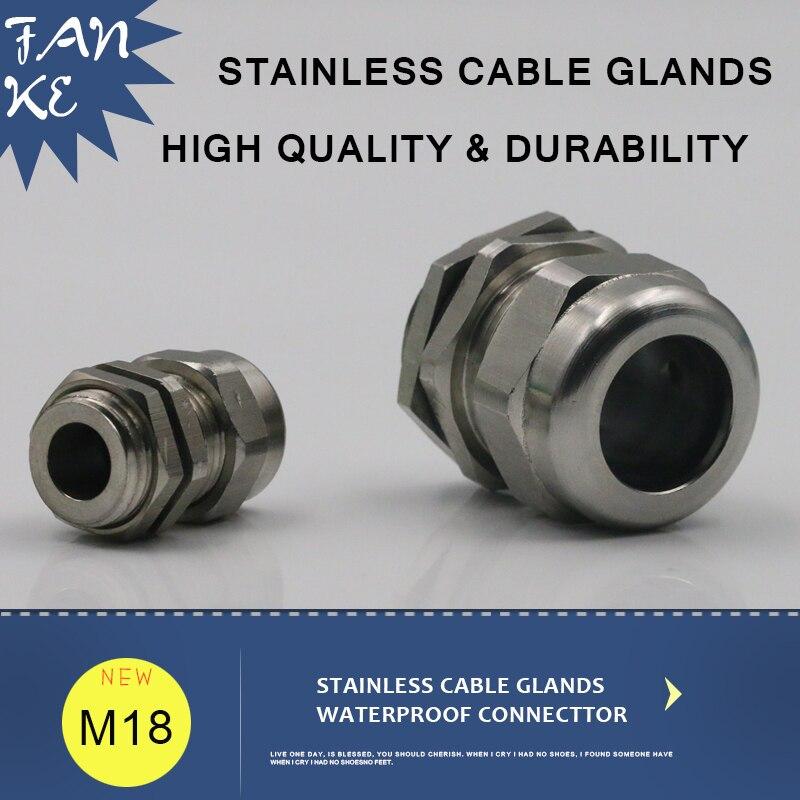 1 peça M18 * 1.5 Inoxidável Cable Gland Conector IP68 Apertos de Cabo e de Alívio de tensão da Corda de Fio de Aço Acessórios Para 5-10mm
