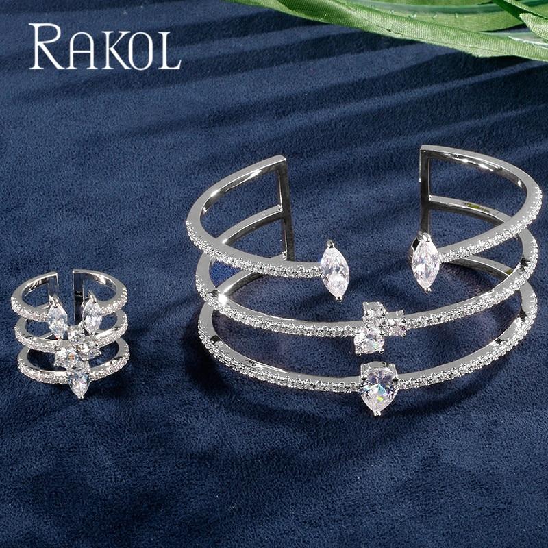 RAKOL Luxury Round Shape Cubic Zirconia Rose Gold Color Bracelets & Rings Set For Fashion Women cuff Ring Jewelry Set Bijoux