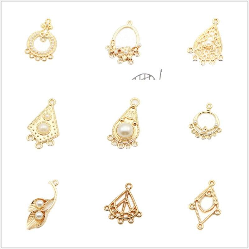 2 uds. Pendiente de lámpara chapado en oro fabricación de joyas de pendientes Kit Diy materiales para pendientes de gota y colgante de encanto paquete surtido