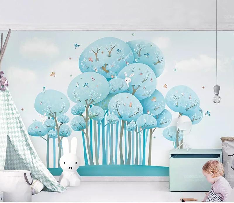 8d azul lindo papel de pared de caricaturas Mural 3D bosque conejo pájaro pequeño papel pintado adhesivo papel para chico fondo de sala murales de pared