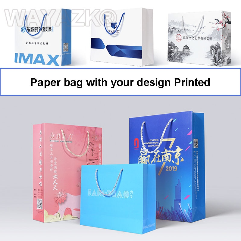 (500PCS/lot) Custom company brand logo boutique shopping bags paper