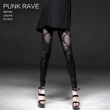 PUNK RAVE kadın gotik seksi bayan moda mat laminasyon laminasyon örgü dantel sahte çizme tayt kadın pantolon
