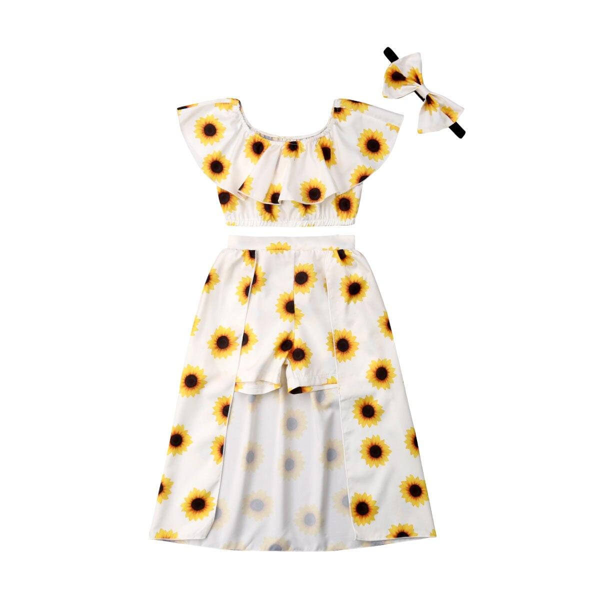 1-6 años de moda para niños recién nacidos, niña, girasol, hombros descubiertos, Tops cortos, vestido, diadema, trajes, ropa bonita