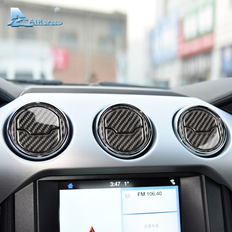 Velocidade de Fibra de Carbono de Saída de Ar Condicionado Central para Ford Mustang AC quadro adesivo 2015 2016 2017 Auto Acessórios