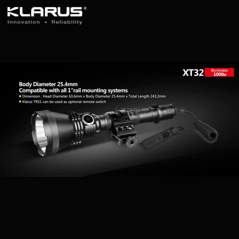 KLARUS XT32 CREE XP-L HI V3 LED 1200 Lumens Flashlight Tactical Hunting Searchlight with 1000-meter Ultra Long-Range enlarge