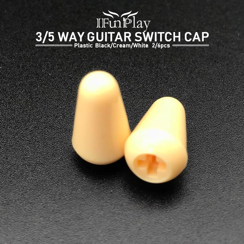2 uds/6 uds piezas de plástico para guitarra eléctrica 3Way 5 Way interruptor Punta de pomo Cap Pickup Selector Switch Tips para guitarra eléctrica FD