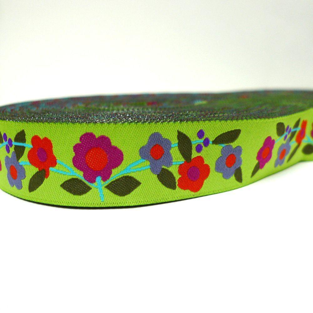 7/8 22mm Wide Floral Lime Tone Dog Collar Jacquard Ribbon