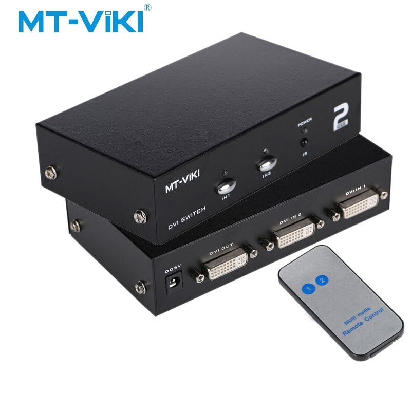 Caixa de Interruptor de Porta DVI 2 2 MT-VIKI em 1 out Dual Eingang IR Fernbedienung Unterstützung Wählen Sie 2048*1536 MT-DV201