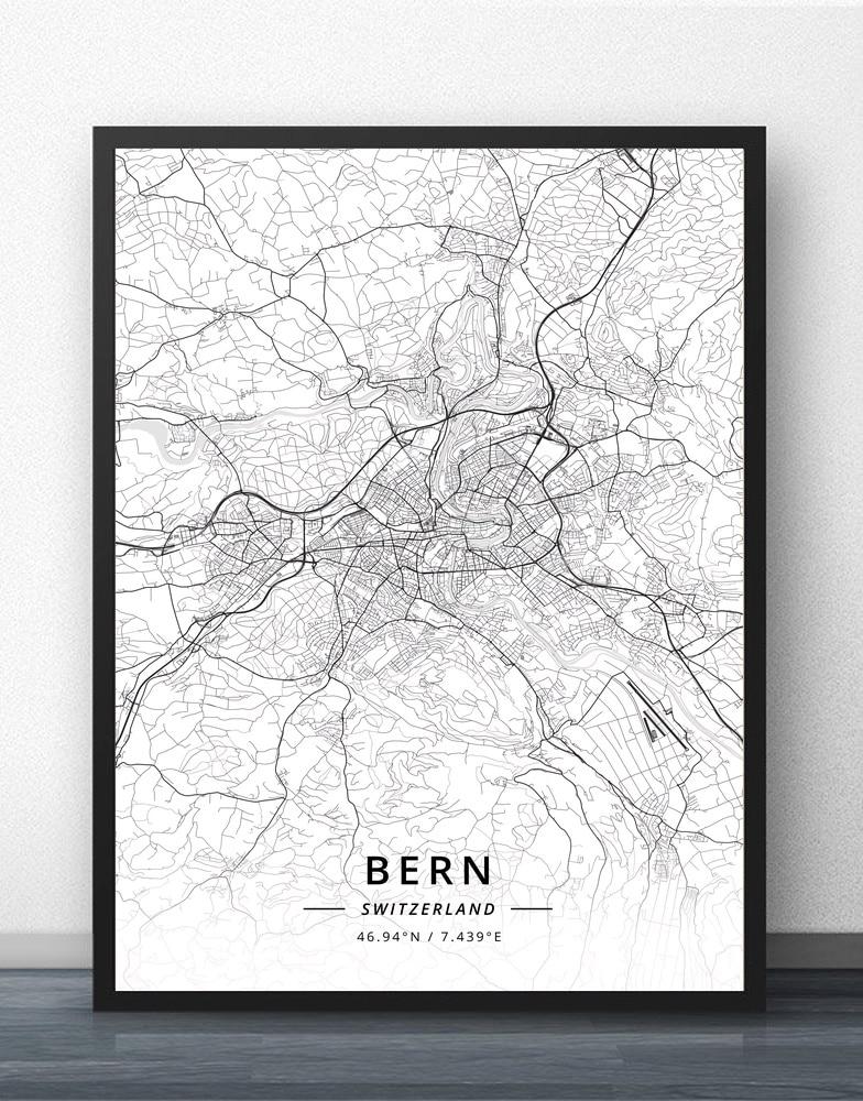 Póster de Bern Geneva, lugane St Gallen, Zúrich, Suiza, Mapa