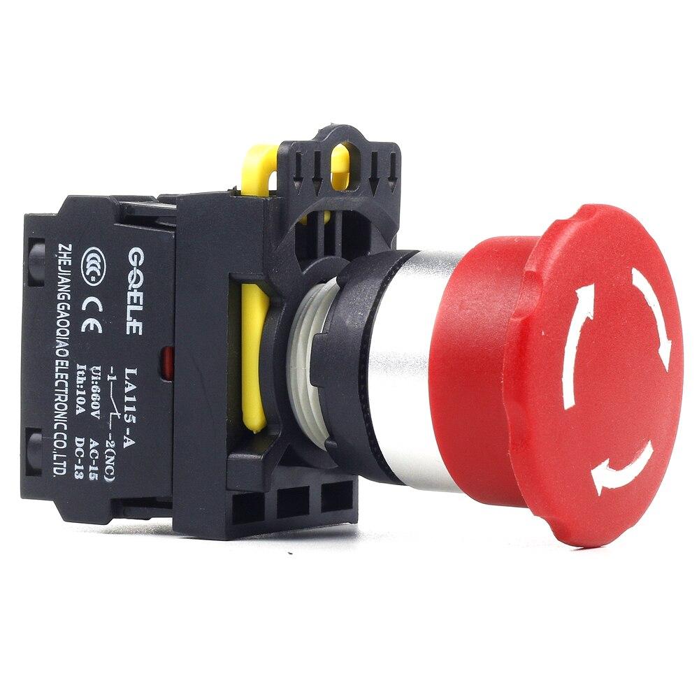 5 uds empuja el interruptor de botón pulsador de parada de emergencia IP651NC 1NO + 1NC 2NO 2NC 3NC rojo
