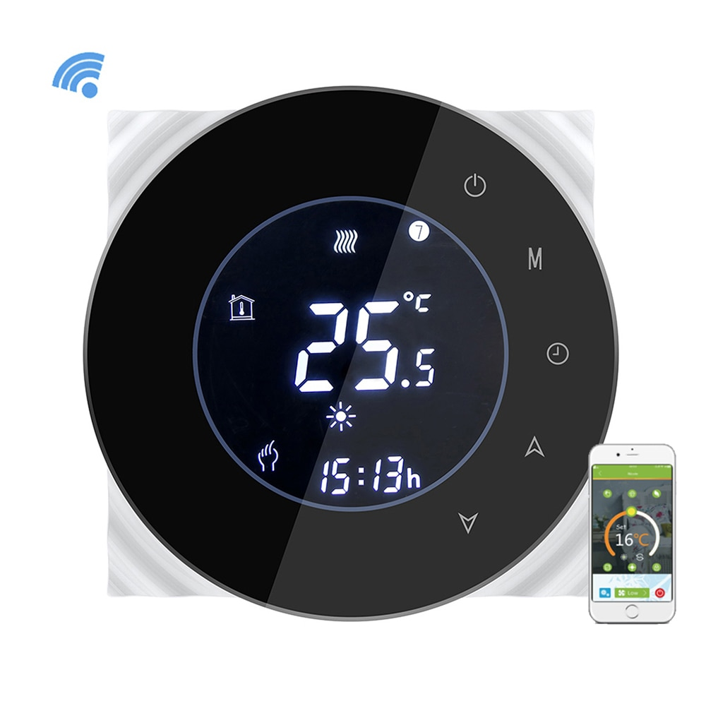 WiFi ترموستات التحكم الصوتي LCD سلبي لمس البرمجة ترموستات المياه التدفئة تحكم في درجة الحرارة NTC الاستشعار 3A