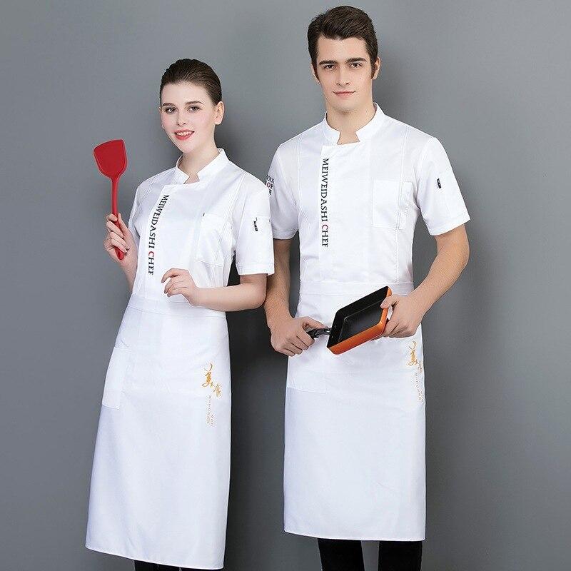 Venta al por mayor, uniforme de Chef, servicio de comida, chaqueta de cocinero de manga corta, ropa de trabajo para Hotel, herramientas transpirables, uniforme de cocinero, Tops
