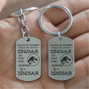 2019 European and American creative customizable stainless steel lettering English tag Dinosaur military keychain pendant