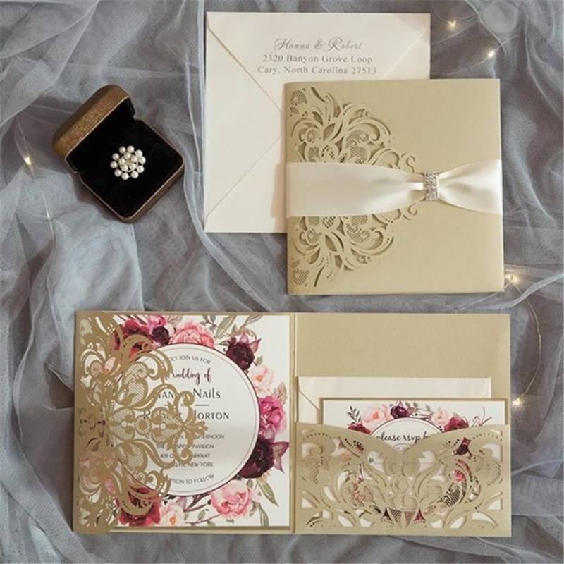 10 Pieces Tri-Fold Laser Cutout Openwork Flower Wedding Invitation Card Set Postcard High-end Business Dealings