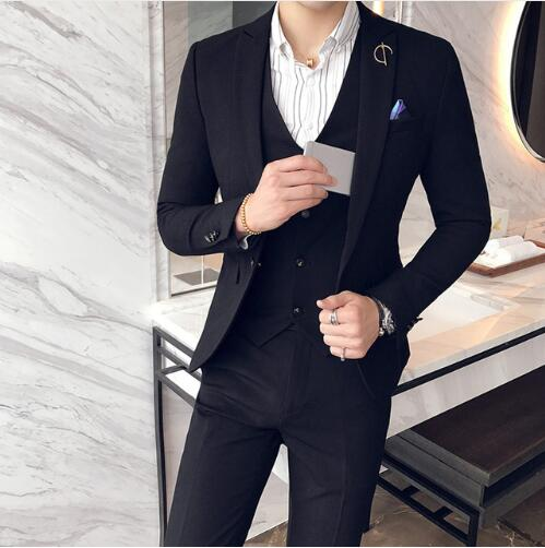 Anzug (Jacket+Pant+Vest)Suit Mens One Button Wedding Dress Suits Business Formal Wear Blazer Set Male Tuxedo Terno Masculino