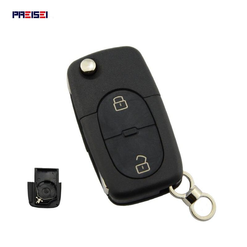 PREISEI 10 unids/lote 2 ronda botones Flip remoto llave de coche cubierta clave Shell para VW Volkswagen Golf 4 5 6 Passat B5 B6 Polo
