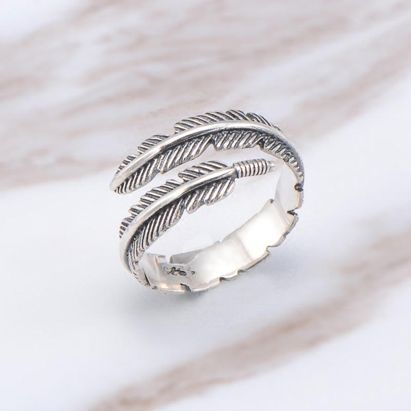Boho מתכוונן שיק נוצת עלה טבעת בציר תאילנדי מתכת צבע גברים נשים חתונה היפי פאנק Biker ספינר Rotatable טבעות