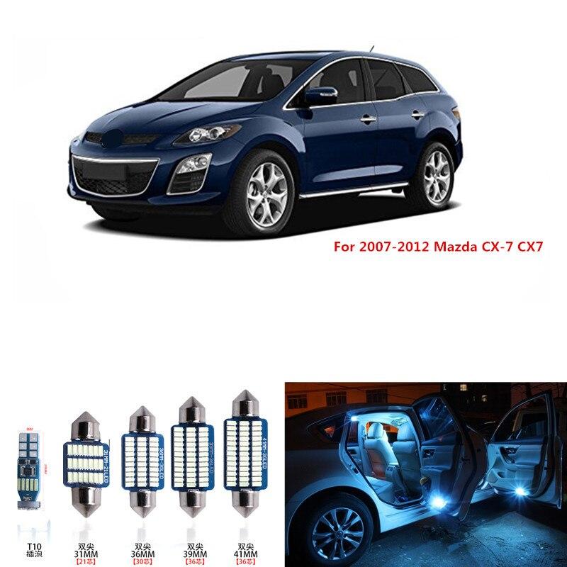 12 шт. Canbus белые светодиодные лампы интерьерный комплект для 2007-2012 Mazda CX-7 CX7 Карта Купол багажник номерной знак лампа розовый