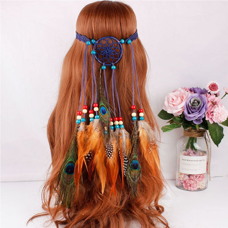 Hippie bohemio mujeres atrapasueños diadema de color indio con cuentas artificiales Pavo Real pluma Cosplay accesorios para el cabello fiesta