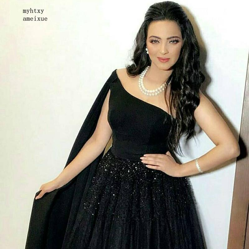 Новое поступление, черные вечерние платья на одно плечо в Дубае, длинное платье 2020, вечернее платье de soiree Abiye, официальное вечернее платье