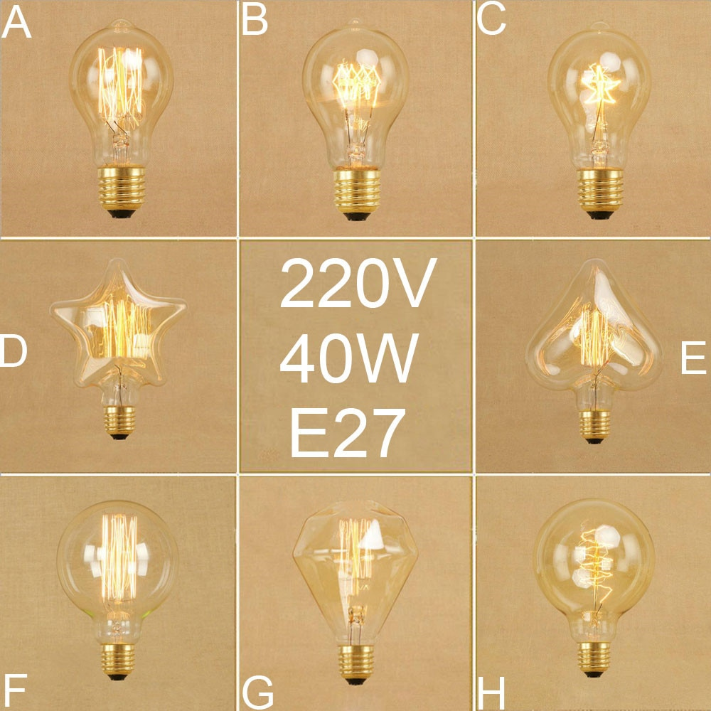 Vintage Edison Lampen A19 G95 Diamant Eichhörnchen Glühlampen Retro Fünf stern Herz Spirale 40W glühlampe 220V 240V