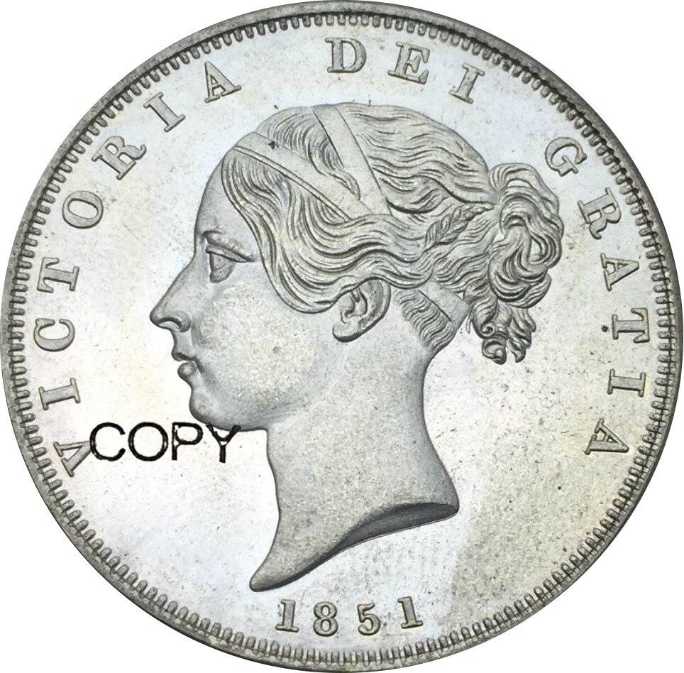 Reino Unido 1/2 Crown 1851 Victoria young head Chapado en cuproníquel copia de plata monedas