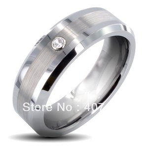 Free Shipping Buy Promotion Jewelry USA Hot Selling 8mm Men's Tungsten Carbide Brushed Cubic Zirconia Wedding Ring US sizes 6-13