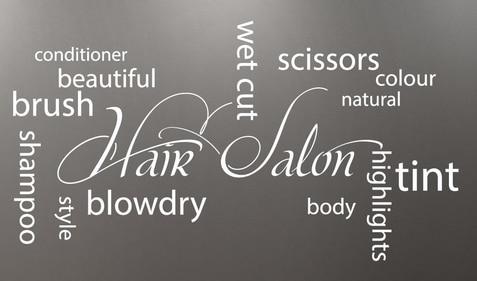 Salón de belleza Collage calcomanía de vinilo para pared barbería peluquero peluqueros letras palabras citas adhesivo para mural de pared Decoración Para sala de peluquería