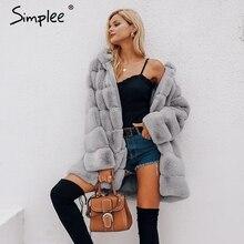Simplee Vintage Fluffy Capuchon Faux Bontjas Vrouwen Winter Grijze Jas Jas Vrouwelijke Plus Size Warme Lange Toevallige Bovenkleding Jas
