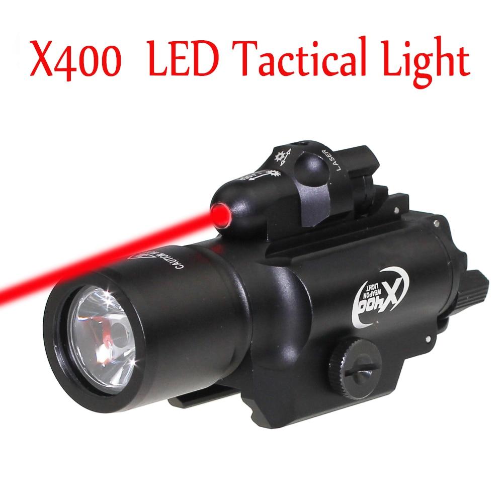 Sf tático x400 luz laser combo led arma vermelho laser lanterna tático arma scout luz trilho montado para a caça