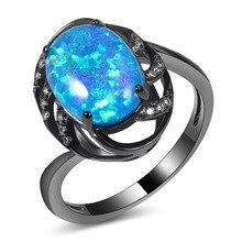 Heißer Verkauf Exquisite Blau Feueropal 14KT Black Gold Filled Hohe Menge Engagement Hochzeit Ring Größe 5 6 7 8 9 10 11 A100
