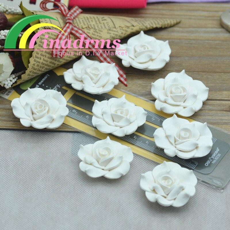 Flor de polímero de Arcilla rosa blanca pura hecha a mano de 38mm, flor de resina, flor de decoración, suministros de embellecedores