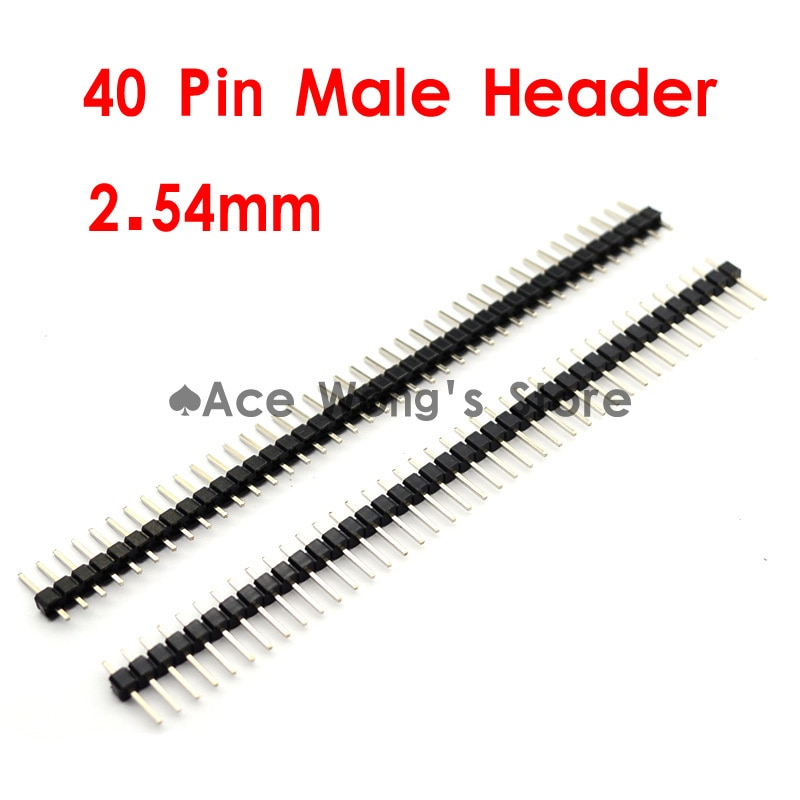 20 piunids/lote conector 2,54mm 40 Pin macho de una fila de plata Pin cabeza tira novedad