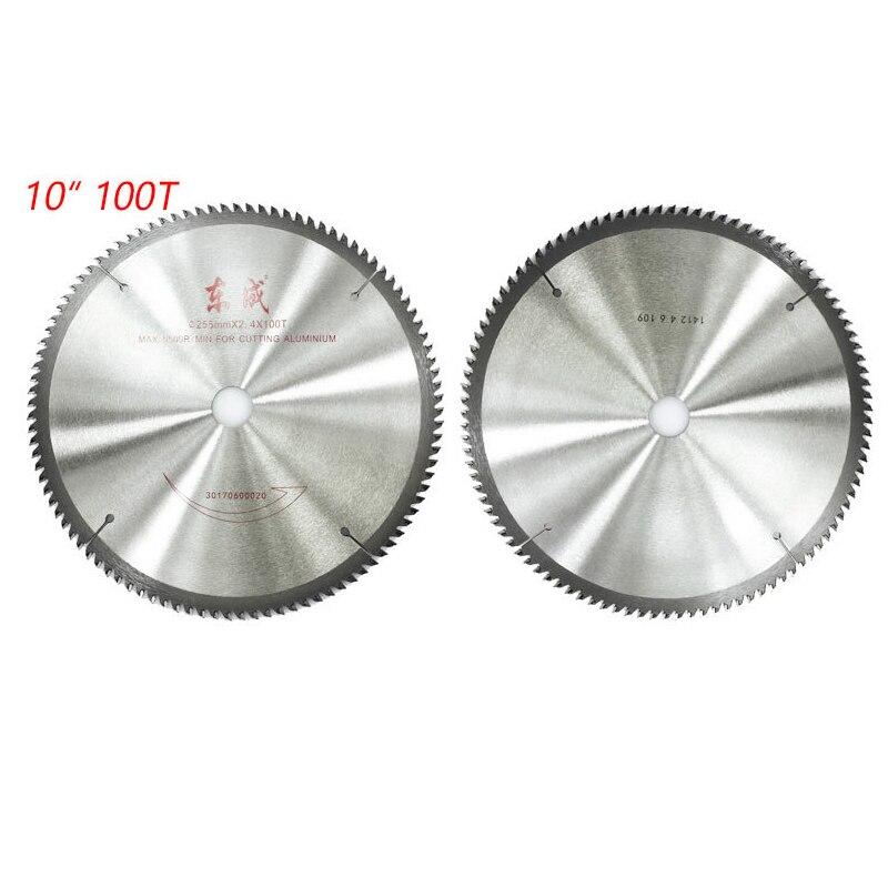 Hoja sierra de aluminio de 100 pulgadas para corte de dientes, hoja de sierra Circular de 254mm, hoja de sierra de 255mm x 2,4x100 T, 1 hoja