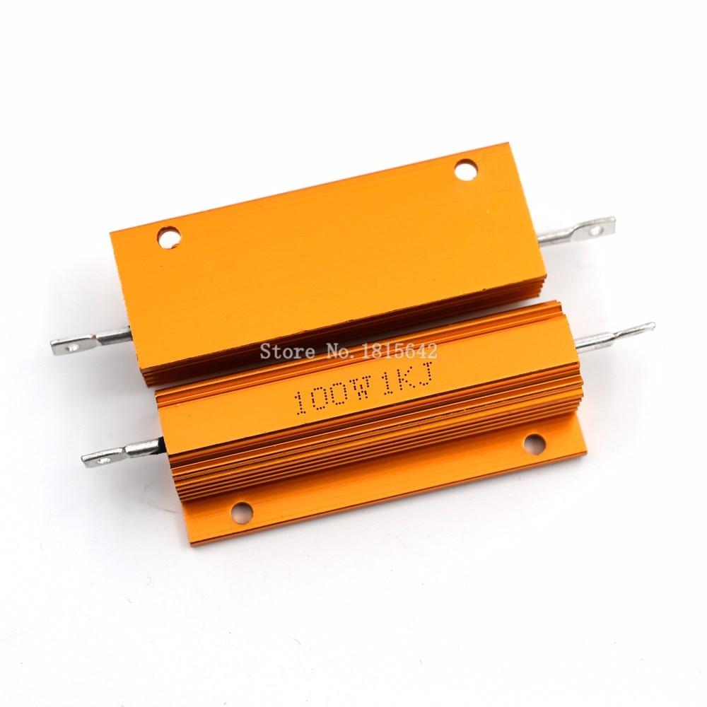 RX24 100 Вт 1KR 1KRJ 1KJ металлический корпус алюминиевый Золотой резистор теплоотвод сопротивление Золотой радиатор резистор 100 Вт 1 к Ом