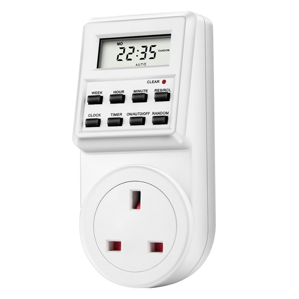 Temporizador del interruptor del tiempo Digital de la pantalla LCD con enchufe del Reino Unido interruptor del temporizador Digital electrónico programable semanal 13A 230V 50 hz