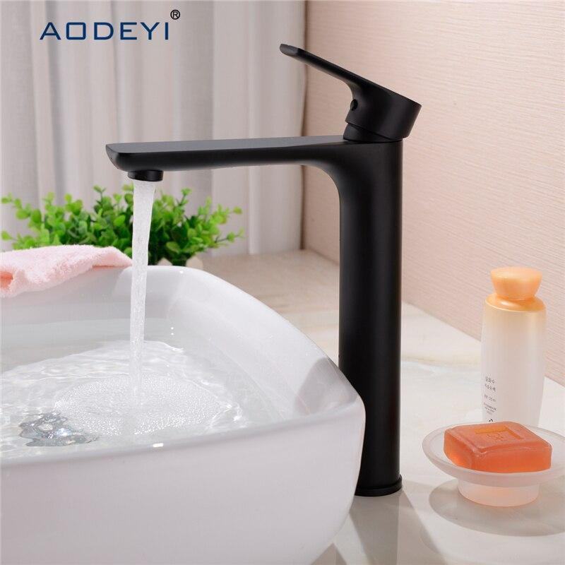 Dois tamanho torneira do banheiro preto latão maciço banheiro torneira da bacia de água fria e quente mixer único punho