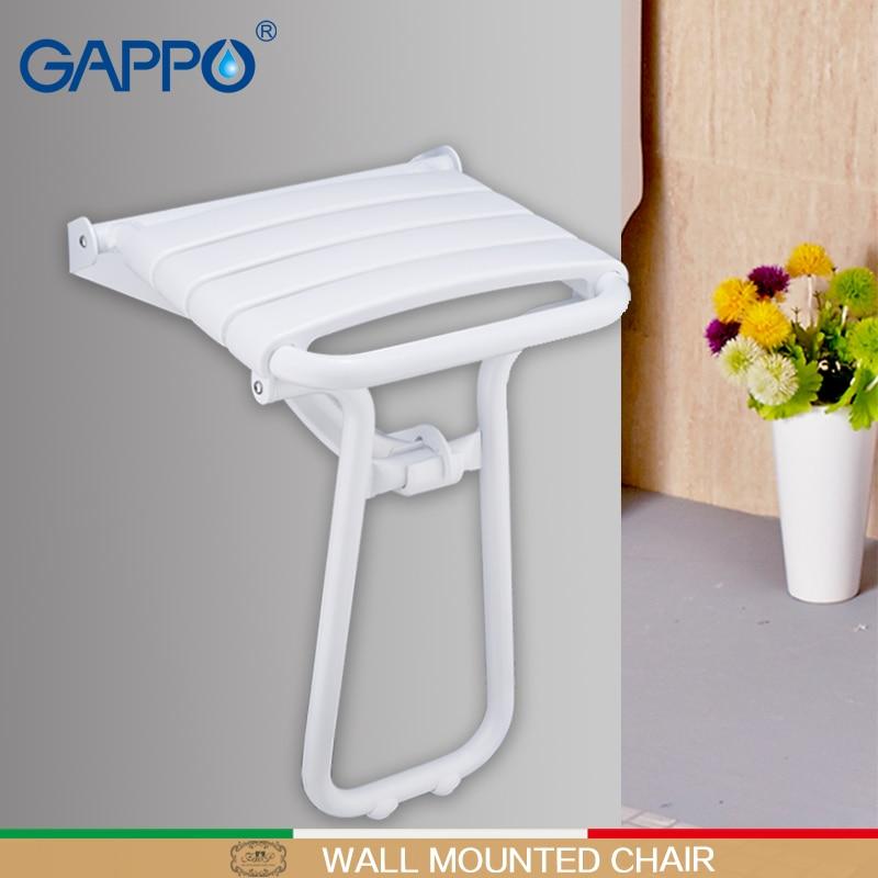 GAPPO-كرسي دش قابل للطي مثبت على الحائط مع صنبور ، ومقعد حمام ، وخلاط شلال ، ومجموعة حمام